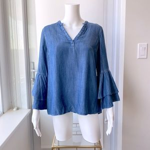 GAP Chambray Popover Blouse with Bell Sleeves